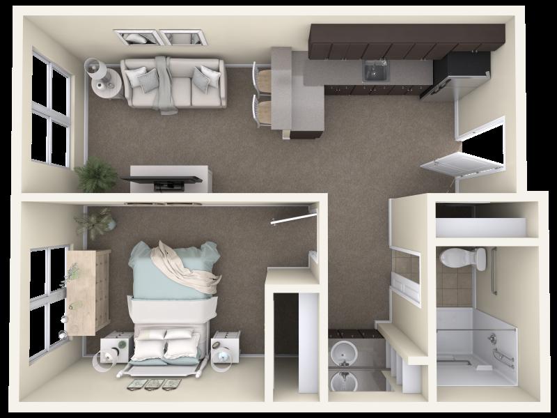 Mountainside-BR&AL-E-One Bedroom