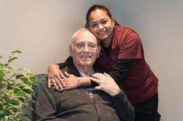 Minal Patel with Resident Lucky Stavrakas