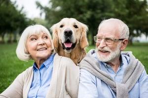 Senior family with dog